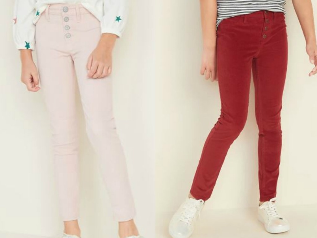 girls legs with colored pants