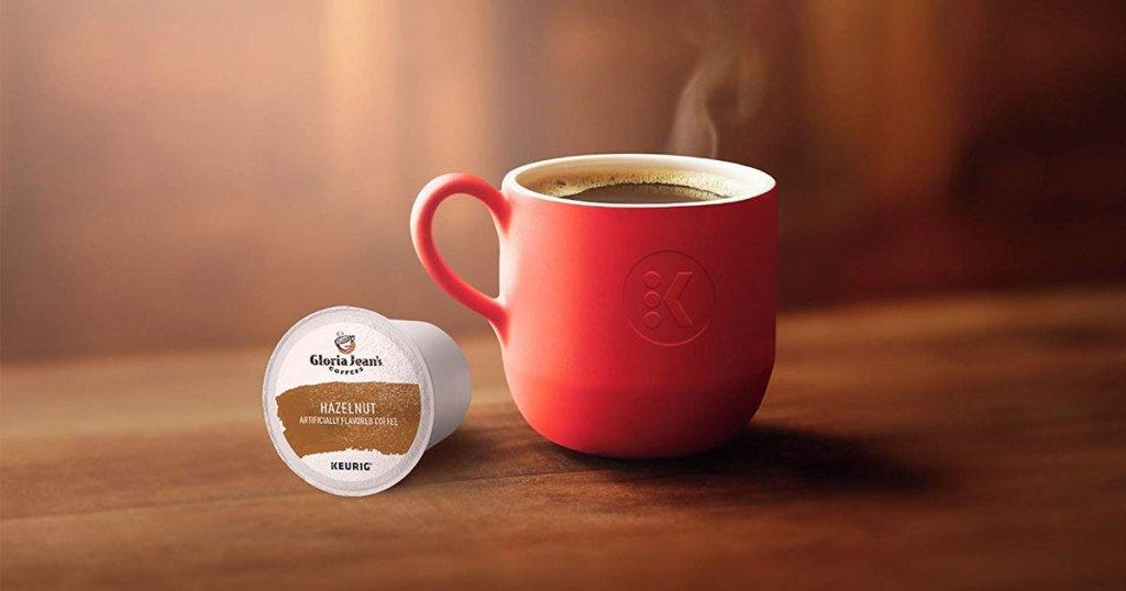 photo of a warm cup of coffee with a gloria jean hazelnut k cup