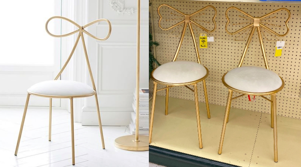 side by side comparison of gold and white bow chairs