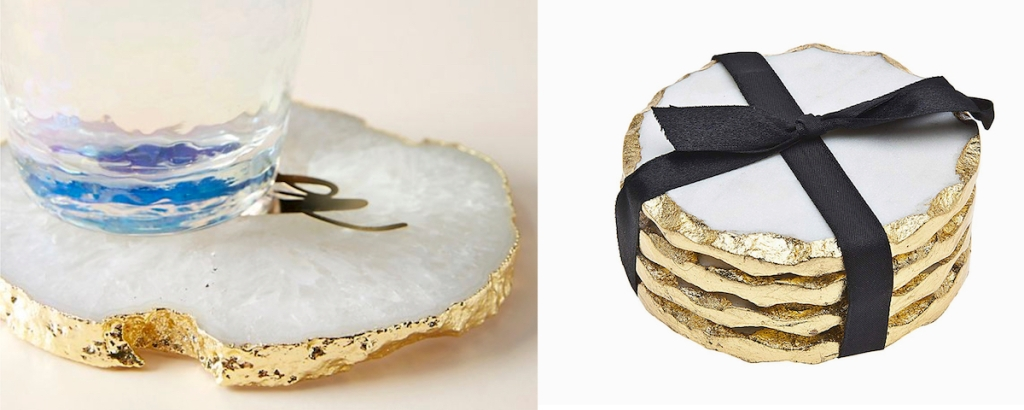 white and gold coasters with glass and black ribbon