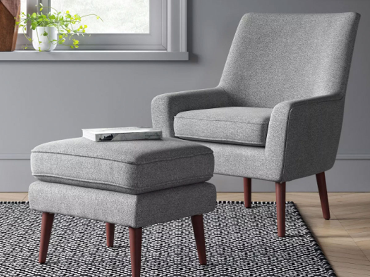 Project 62 Durell Chair and Ottoman Gray in a living room