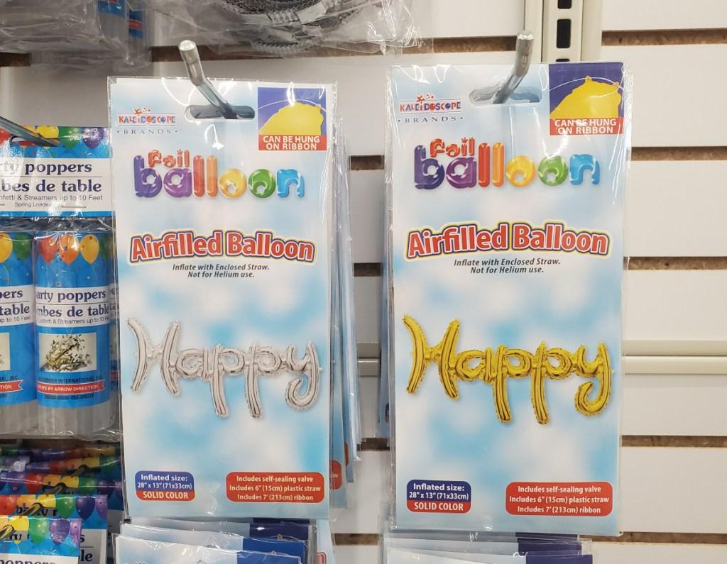 foil balloons at Dollar Tree