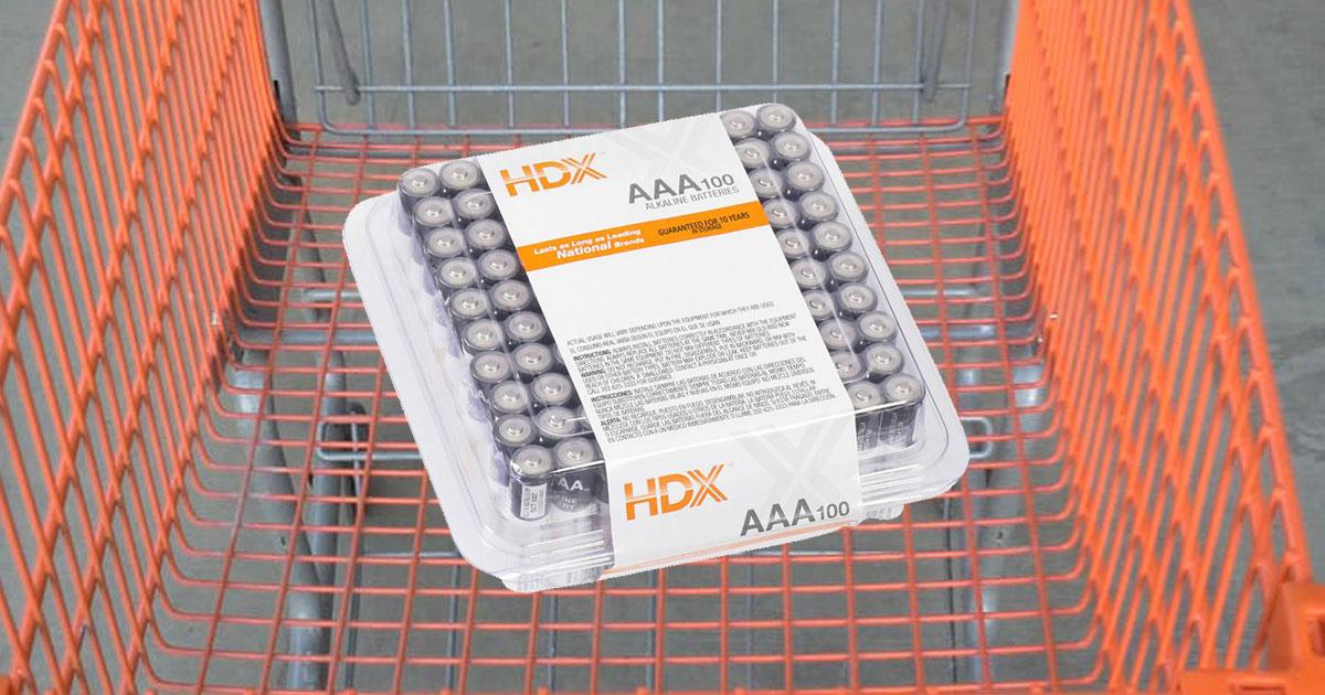 shopping cart full of 100 AAA HDX Batteries