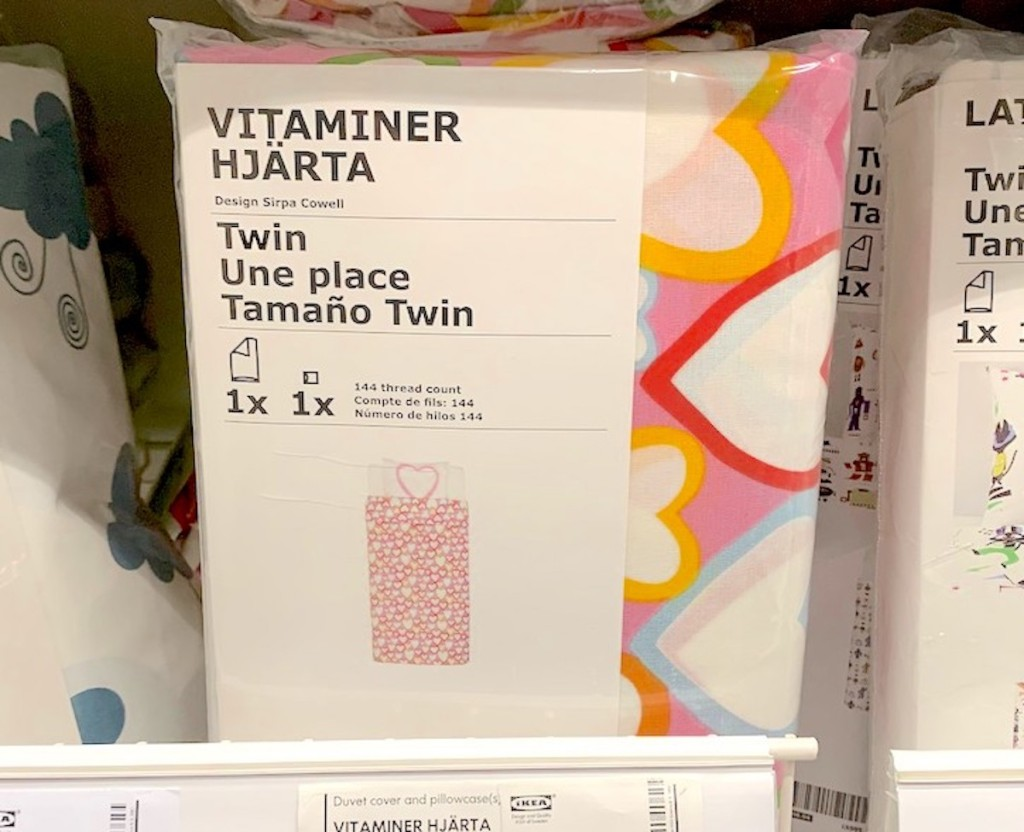 package of heart bedding sitting on store shelf