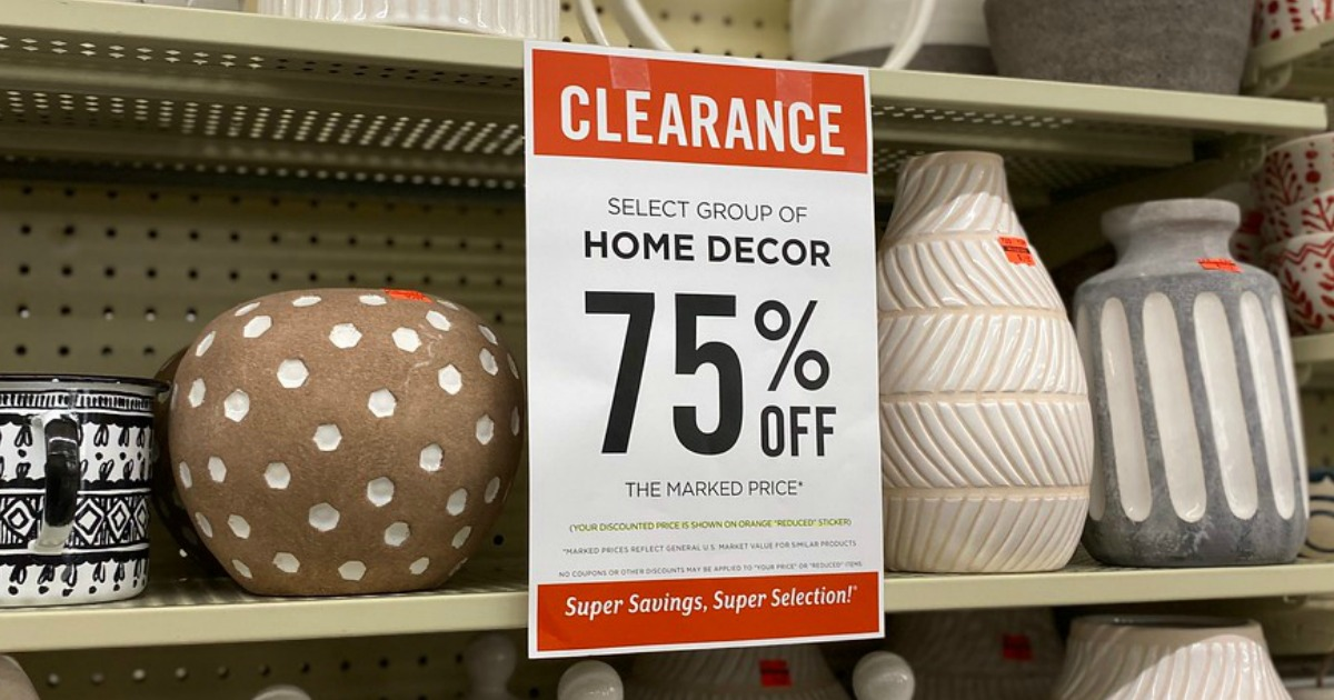large clearance sign in store by home items