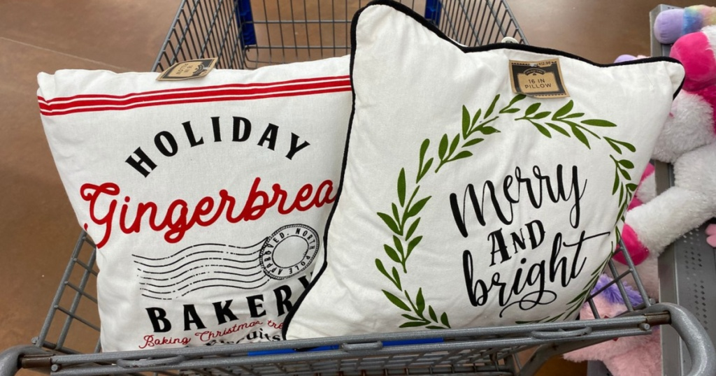 holiday throw pillows in cart