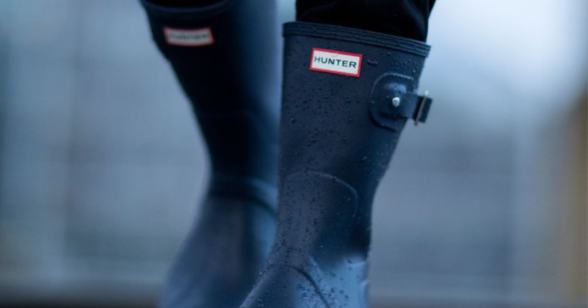 Hunter rain boots worn in the rain