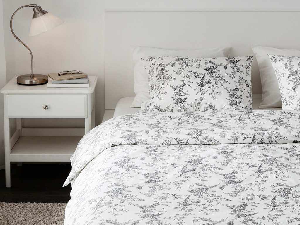 ikea black white floral bedding