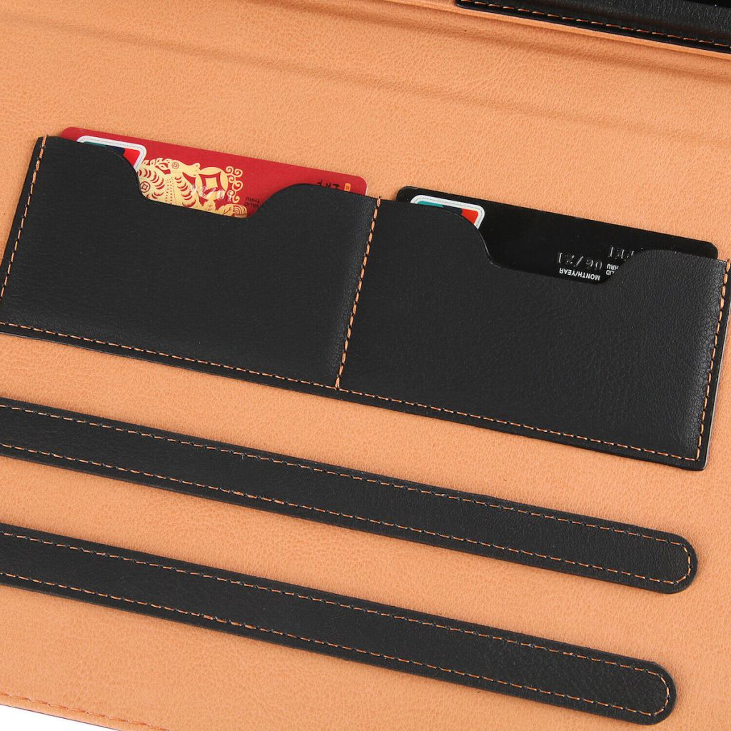 camel and black ipad wallet with card in it