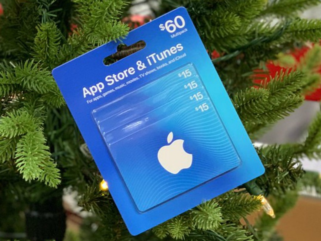 blue gift cards on christmas tree