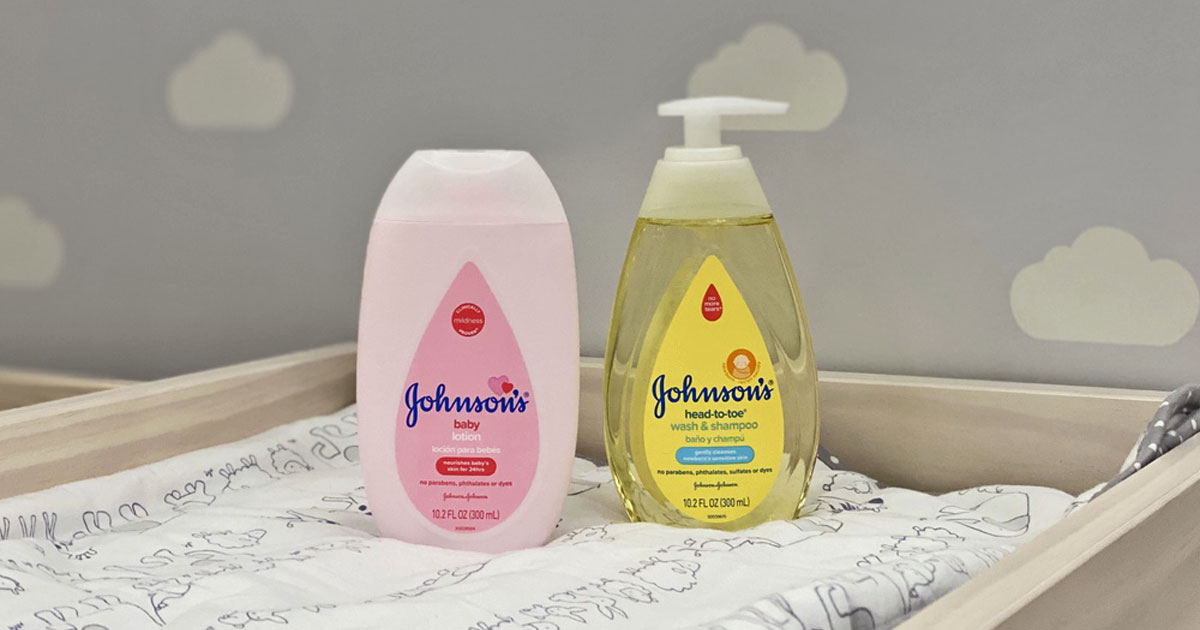 A bottle Johnson's Baby Pink Lotion and Head to Toe Wash on a diaper changer