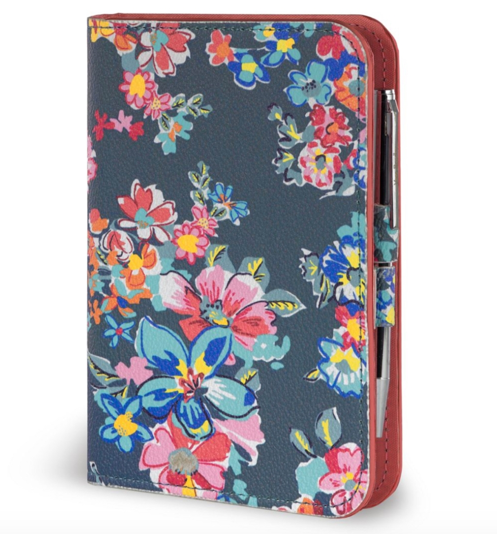 floral journal with pen stock photo