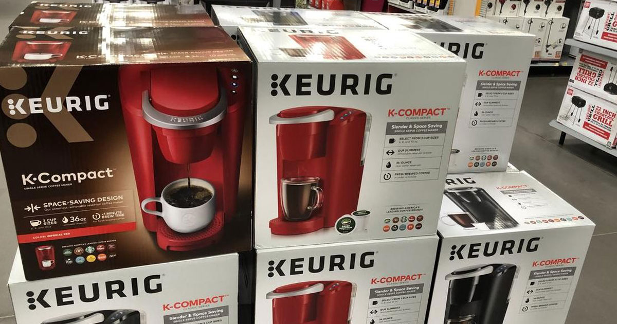 Keurig K-Compact coffee makers in boxes at store