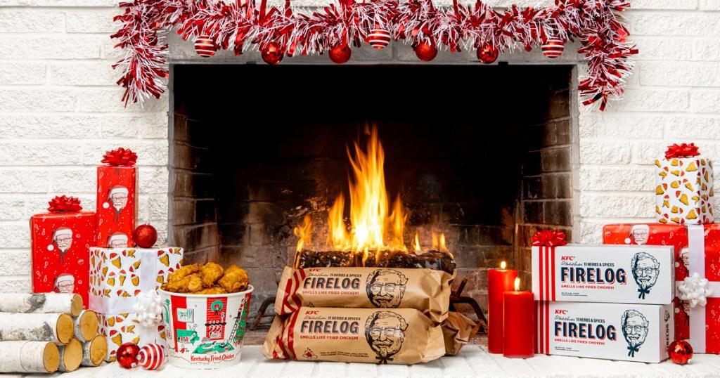KFC firelog in fireplace at Christmas