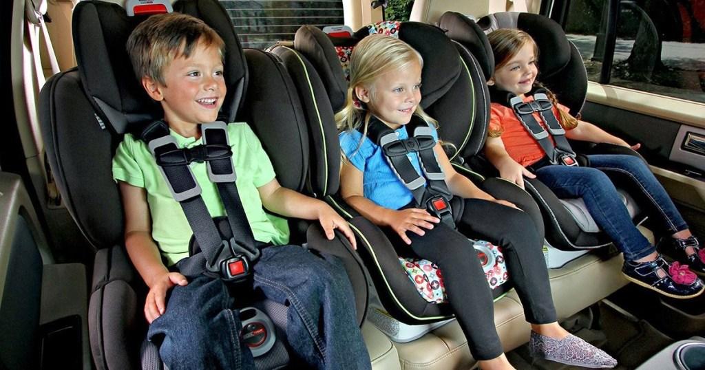 kids sitting in britax boulevard car seat