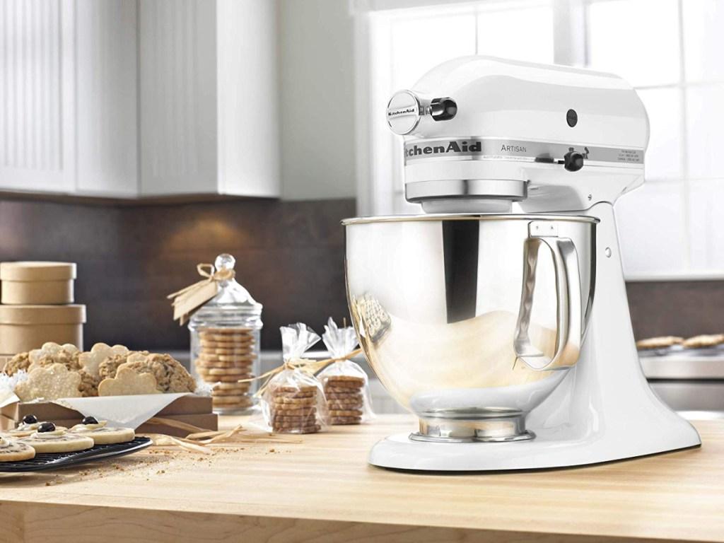 white kitchenaid stand mixer on counter in kitchen