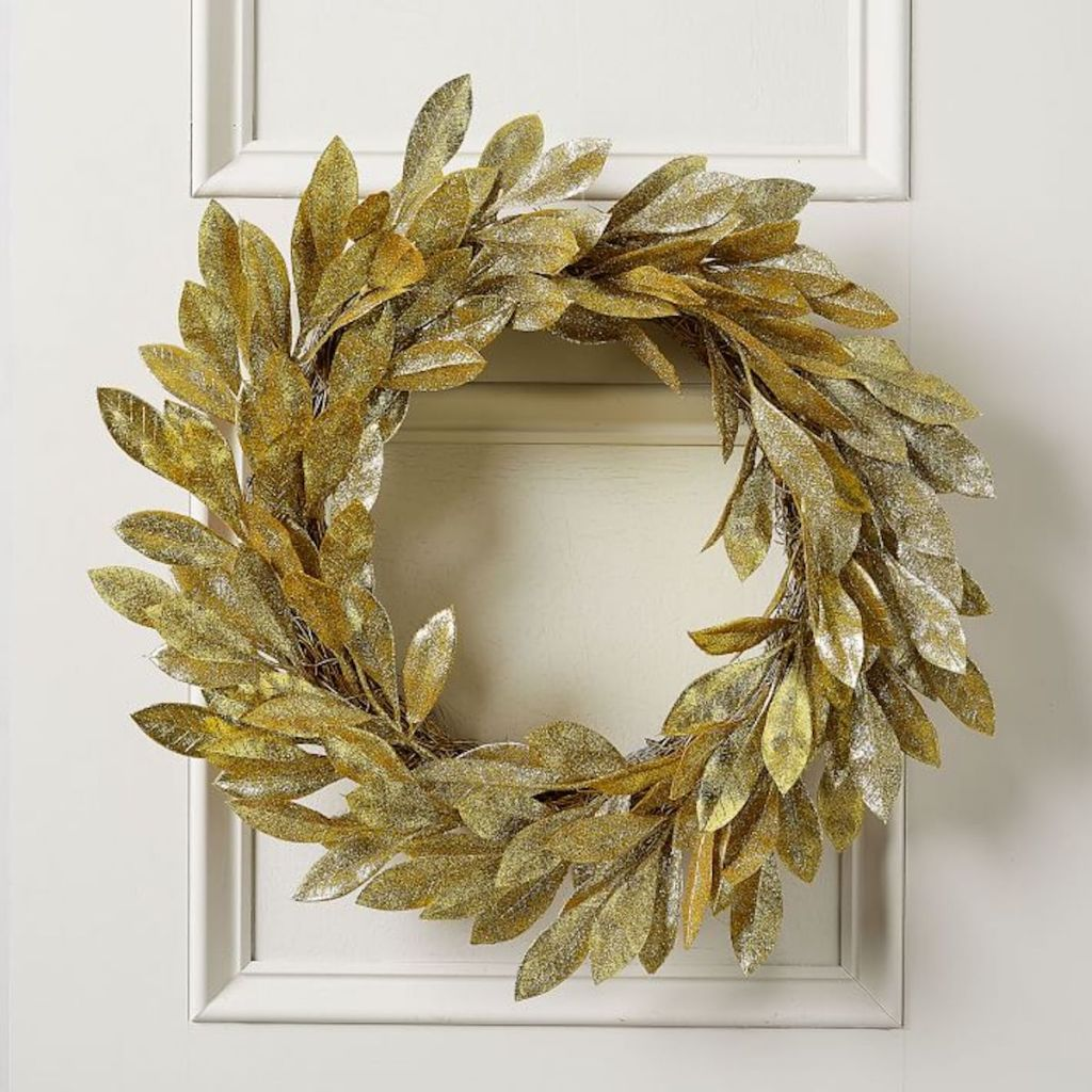 west elm gold glitter leaves wreath on white wall