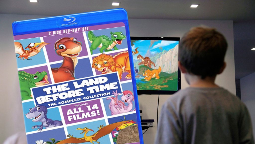 kid watching tv The Land Before Time: The Complete Collection DVD Set