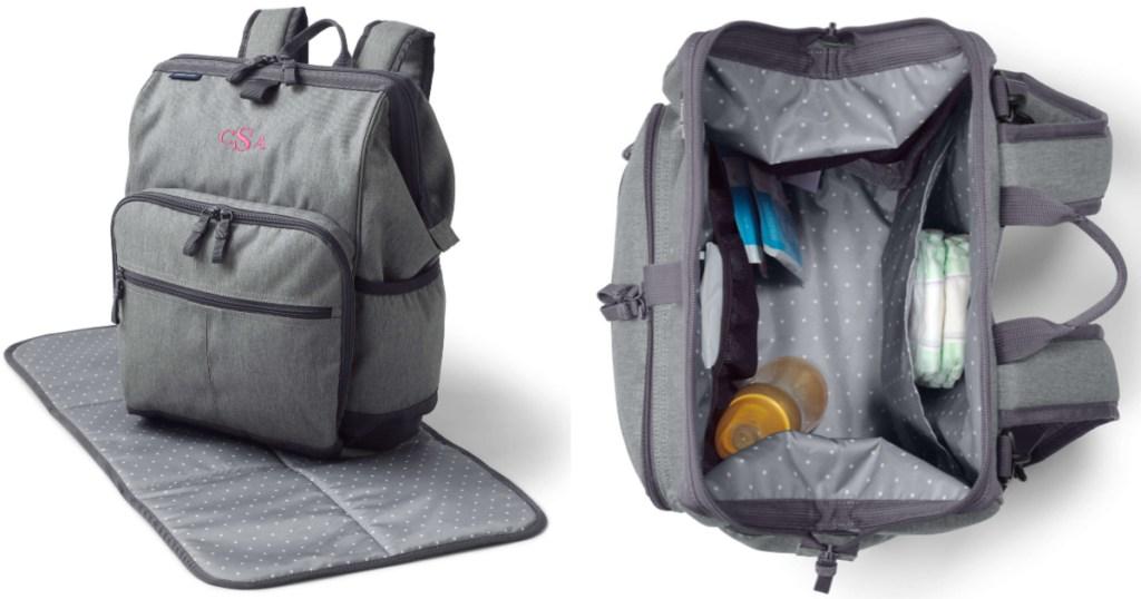 grey lands end Do-It-All Diaper Bag Backpack