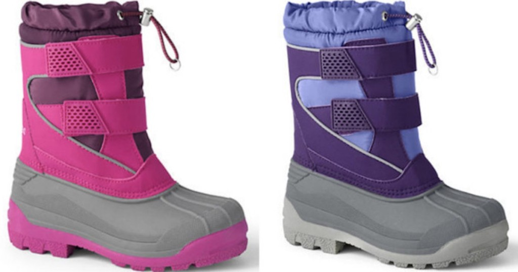 Lands End Kids Snow Plow Boots in pink and purple