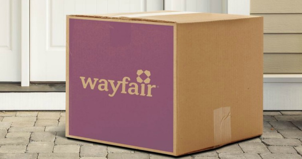purple and brown wayfair box sitting on porch