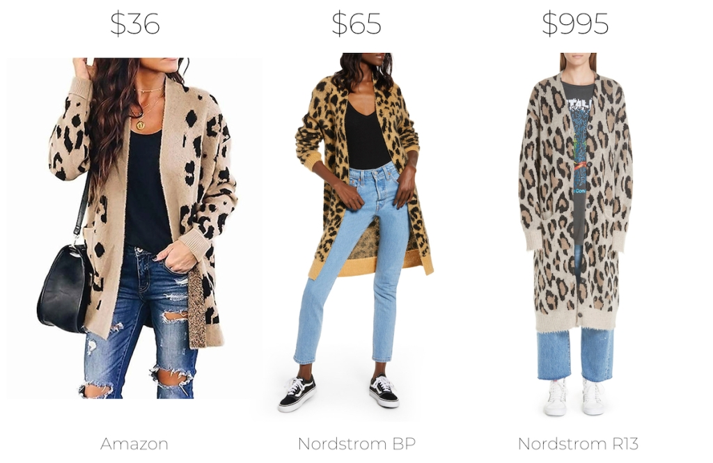stock photos of three women wearing leopard cardigans