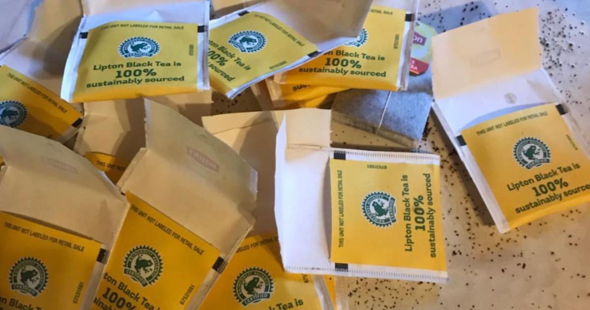 lipton black tea packets on counter