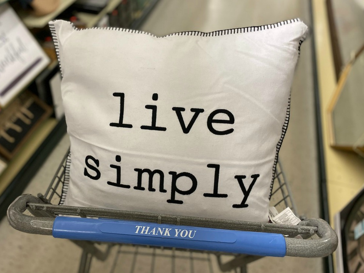 live simply pillow in a shopping cart