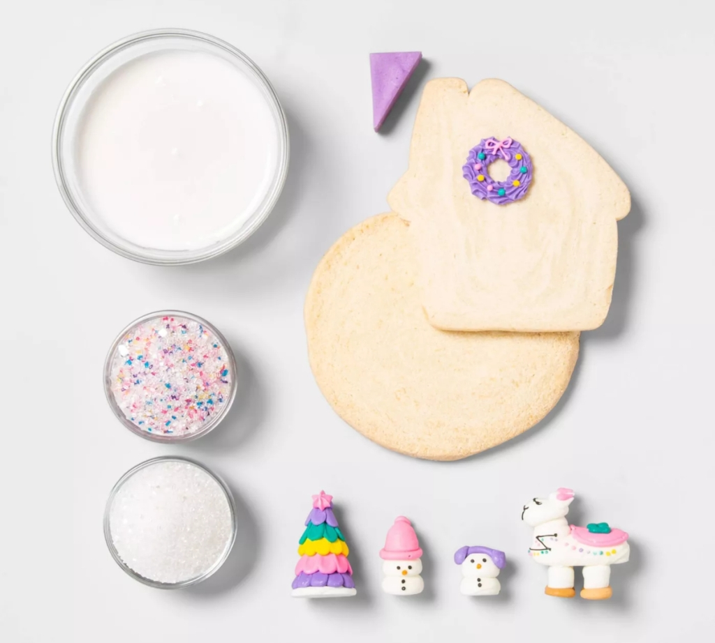 Llama holiday cookie house kit contents