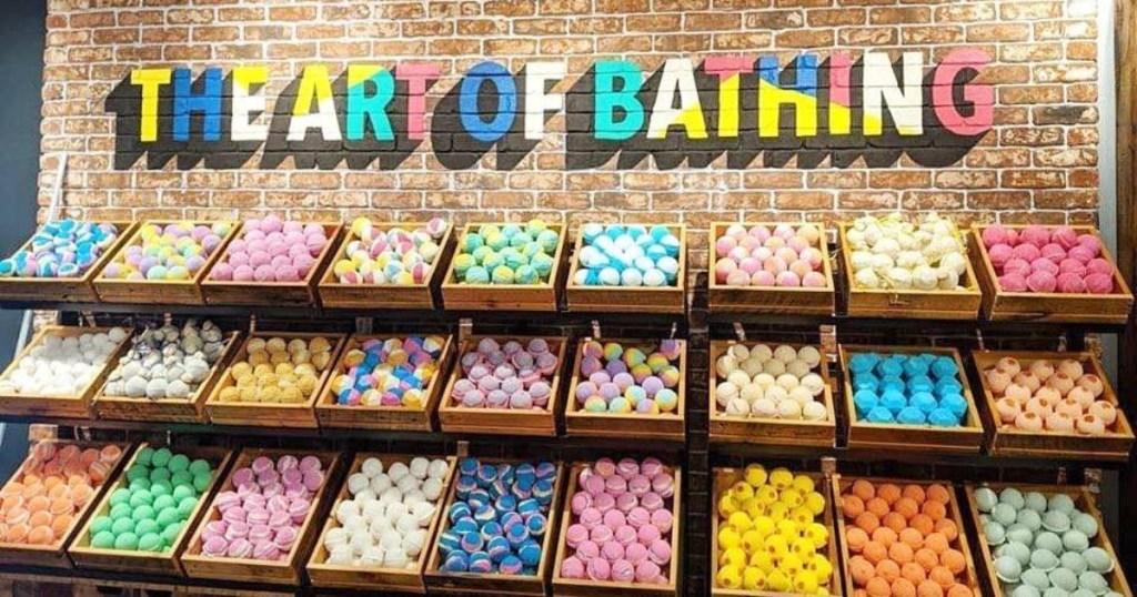 bins of bath bombs at LUSH USA