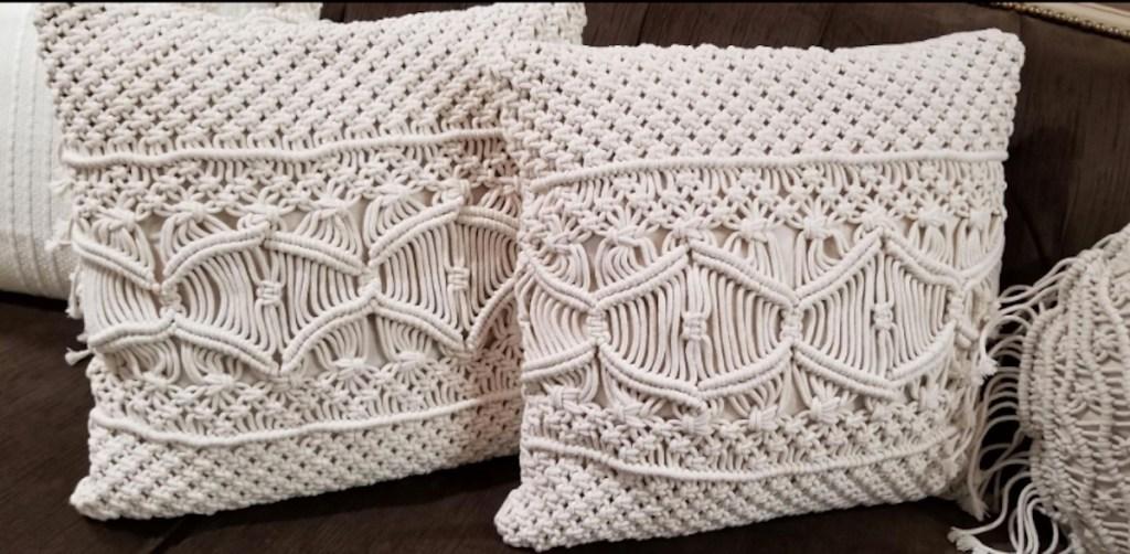 off white and cream macrame throw pillows
