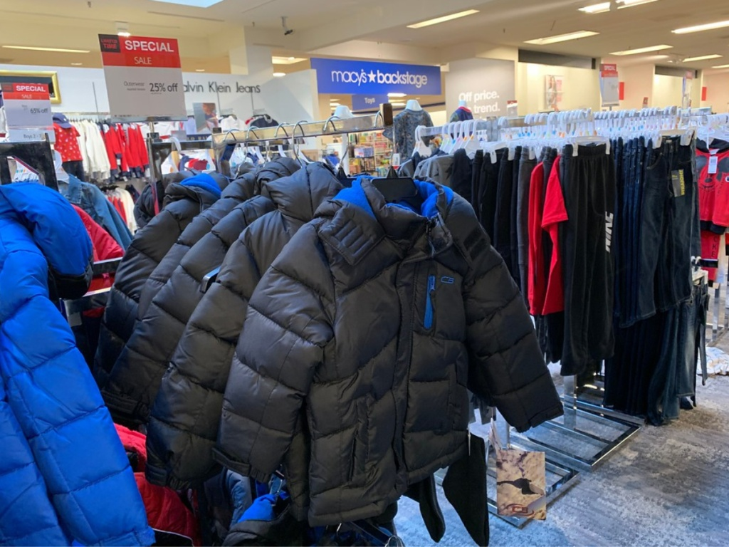 boys puffer jackets in store