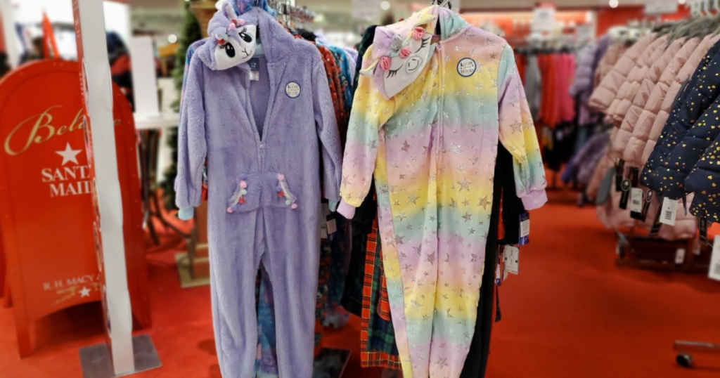 max and olivia onesie pajamas hanging in store
