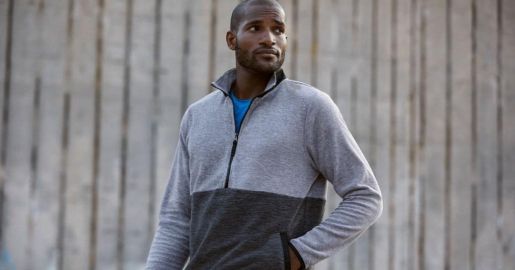 man wearing dsg fleece jacket