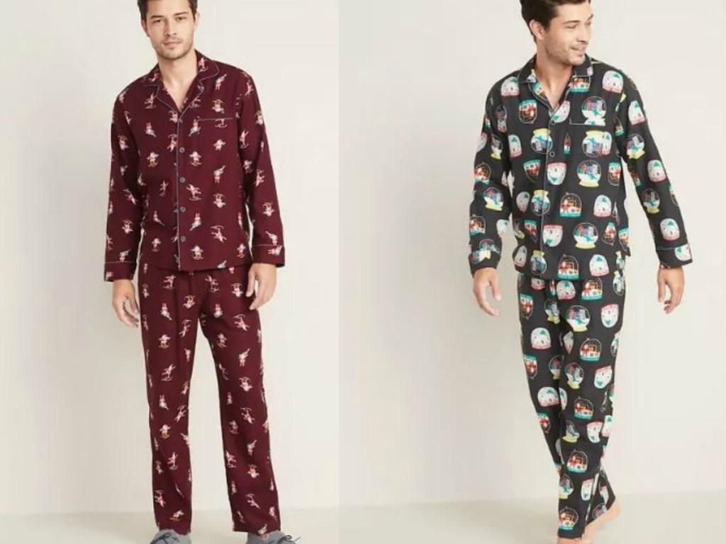 two men wearing pajamas