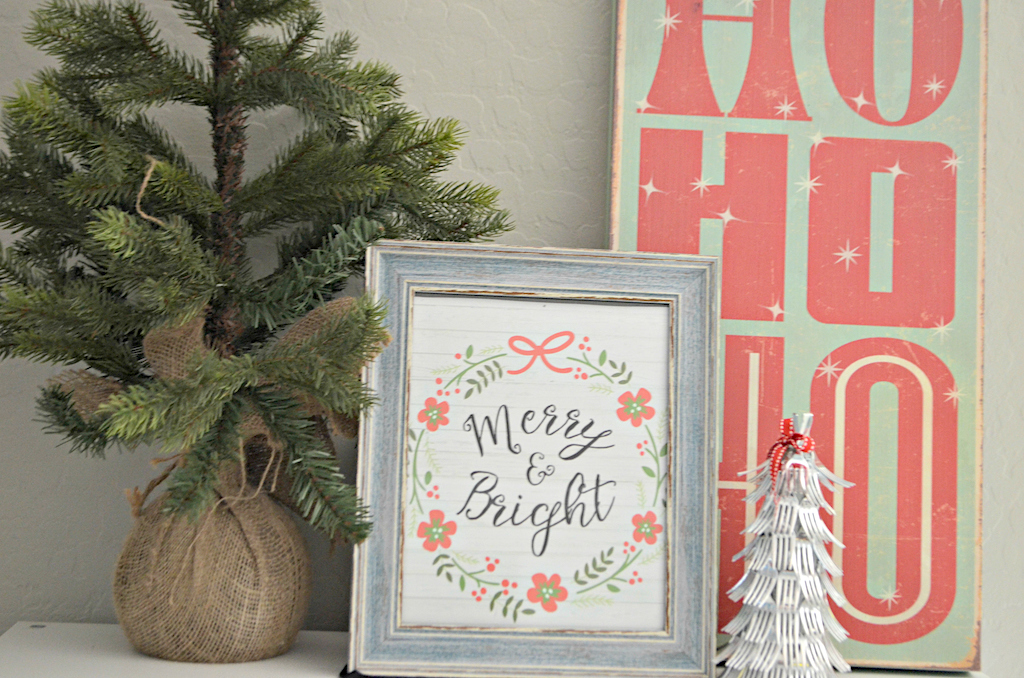 Merry & Bright framed sign with Christmas decor