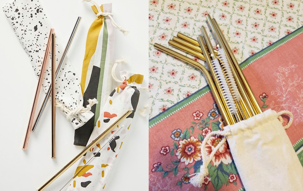 gold metal straws with canvas bags and flower cloth