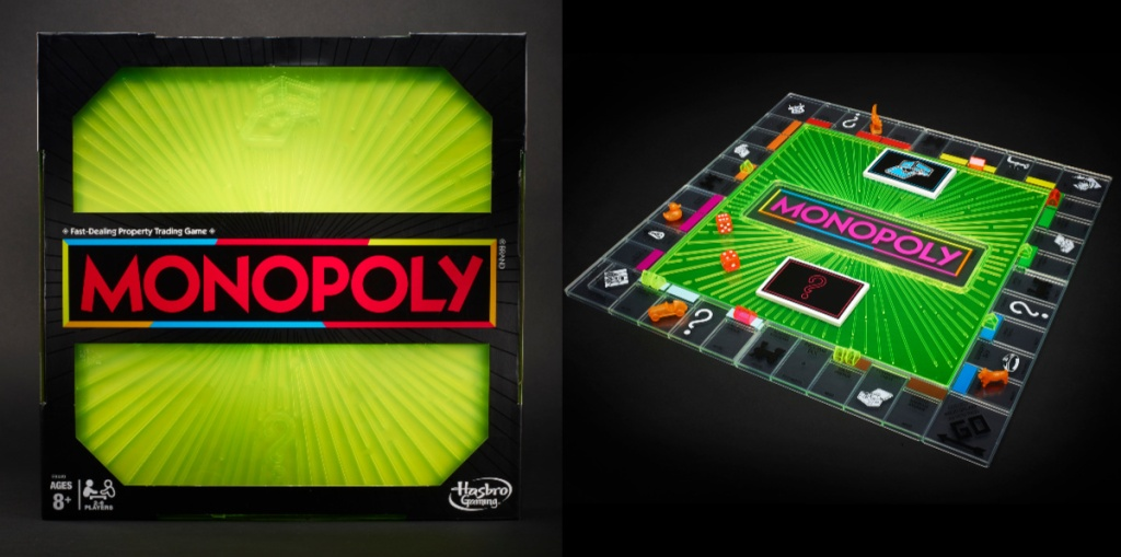 monopoly neon game box and game board