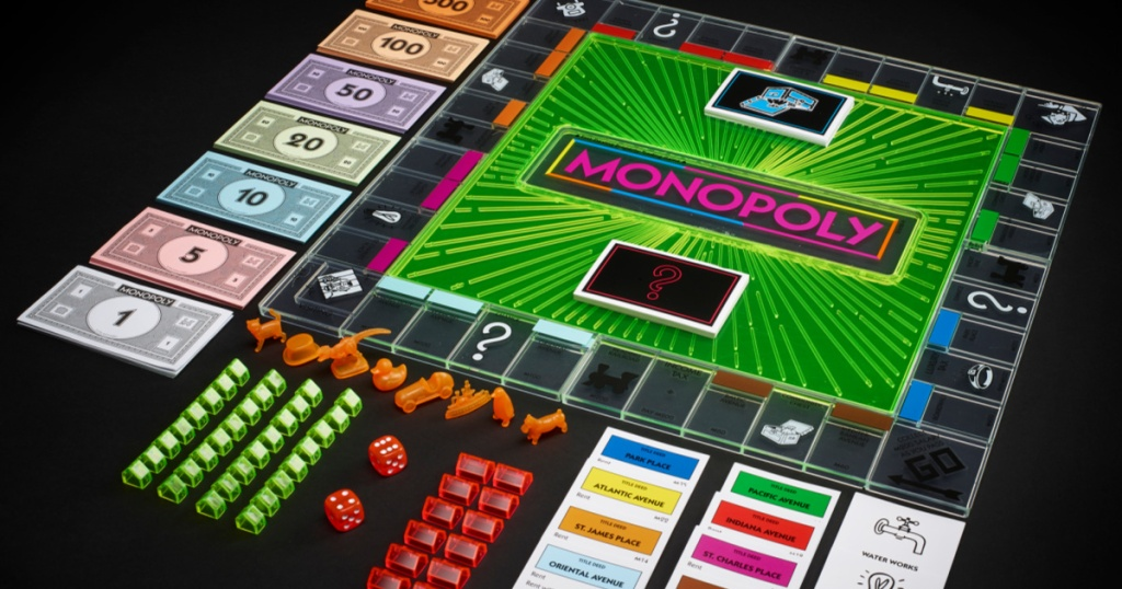 neon monopoly board game and pieces