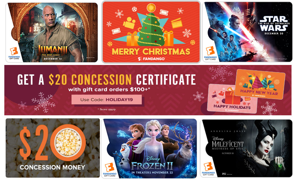 Fandango gift card promotion for $20 concession certificate with order $100+