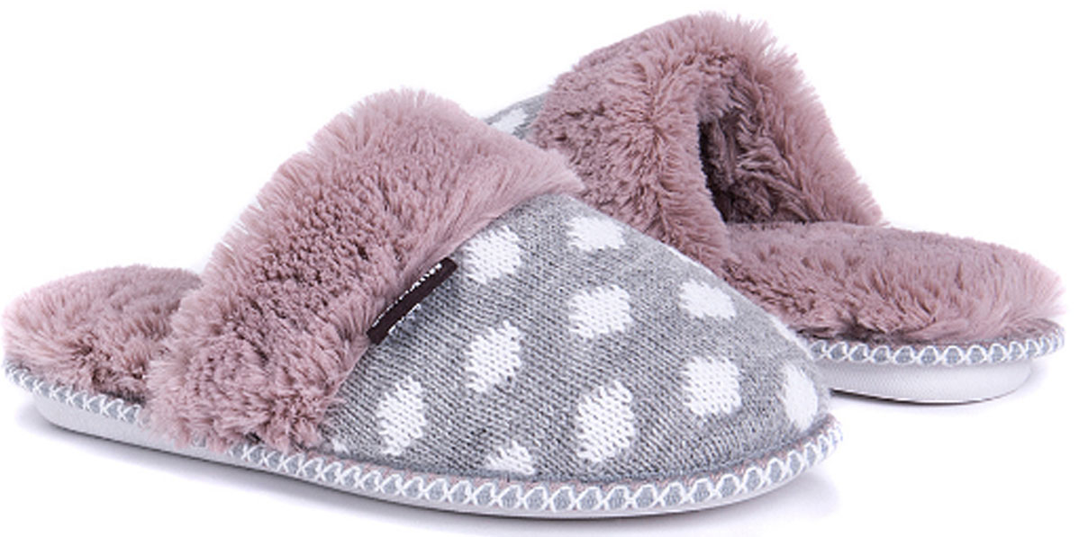Muk Luks White & Purple Polka Dot Frida Slippers
