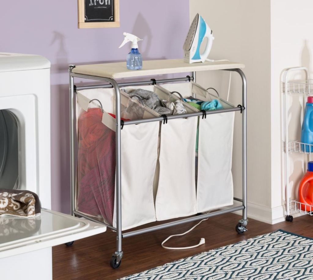 rolling laundry sorter with ironing board