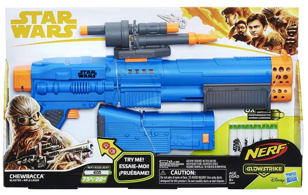 Star Wars nerf blaster Chewbacca Gun in package