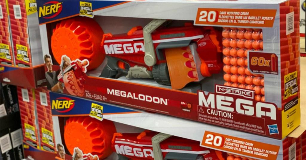 nerf megalodon on store shelf