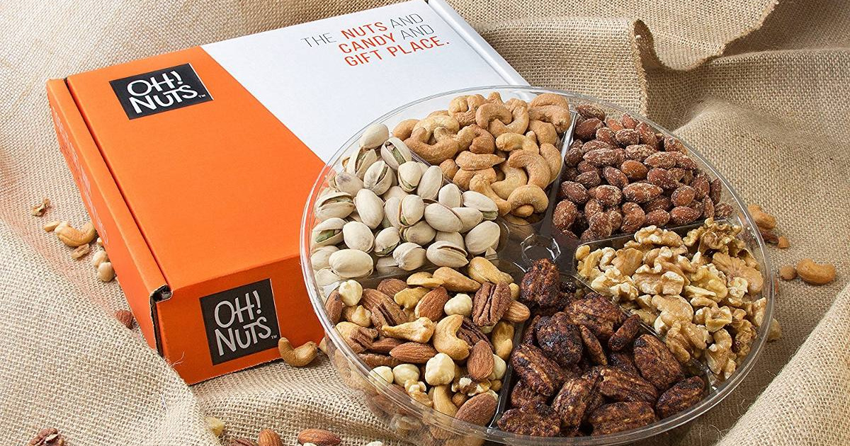 oh nuts gift basket sitting on burlap