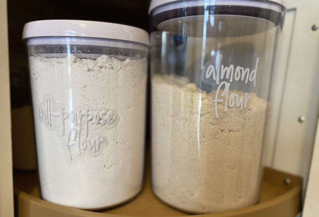 clear food storage containers with flours