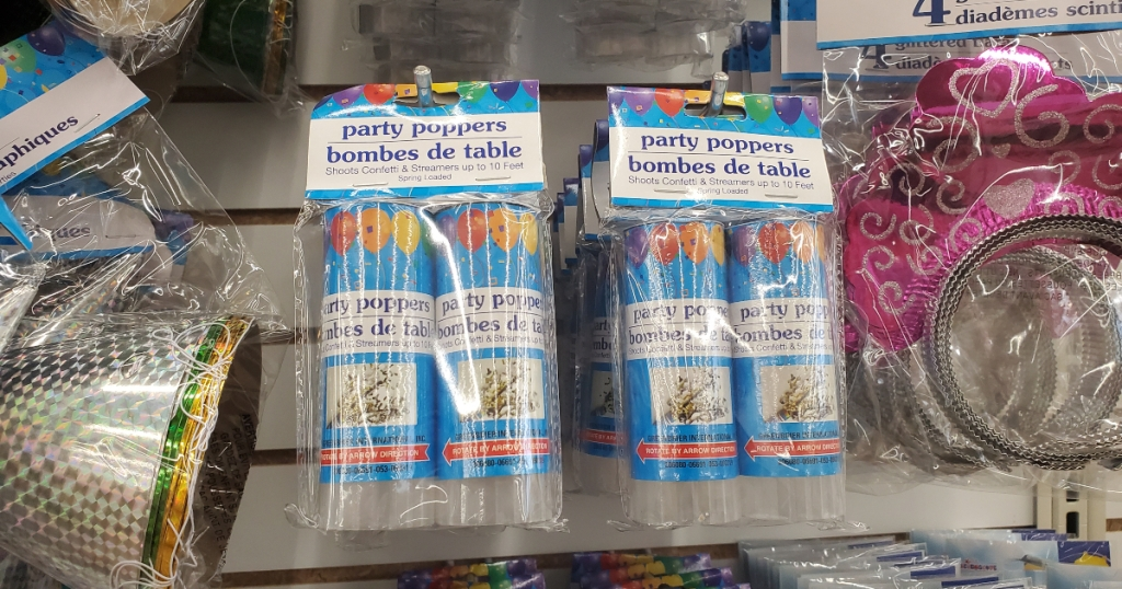 party poppers at Dollar Tree