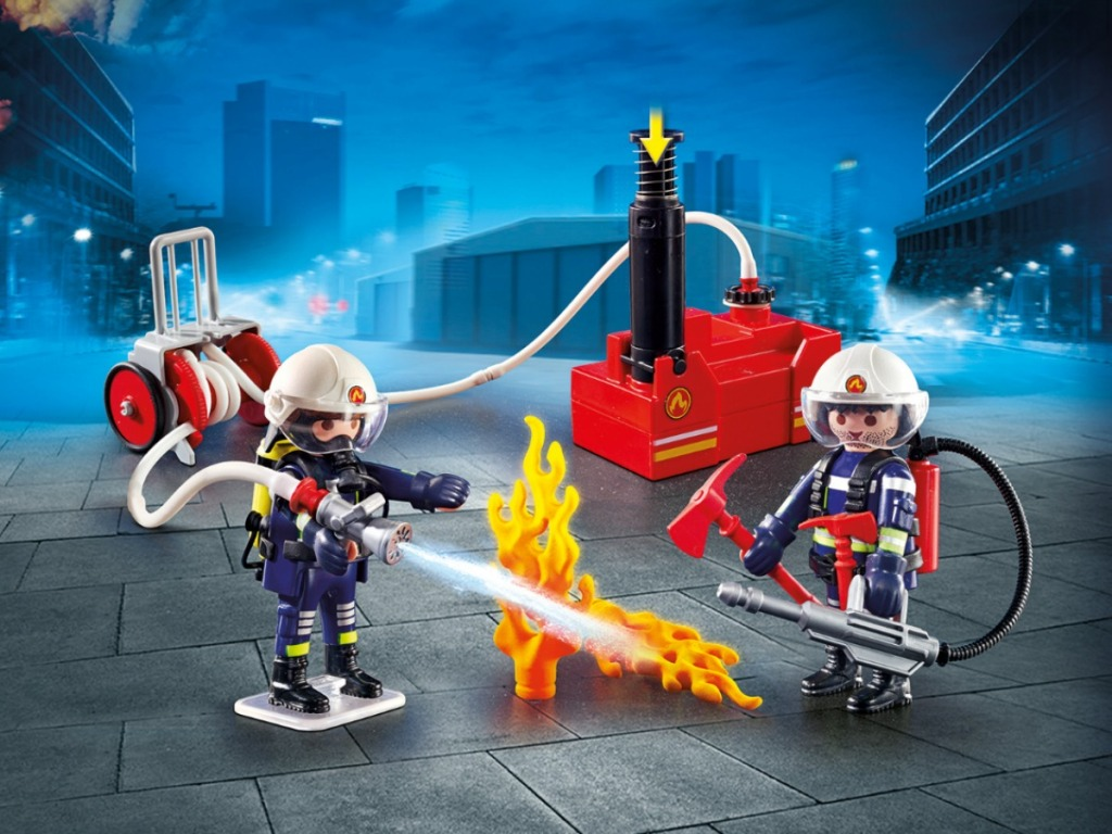 toy set with firefighters