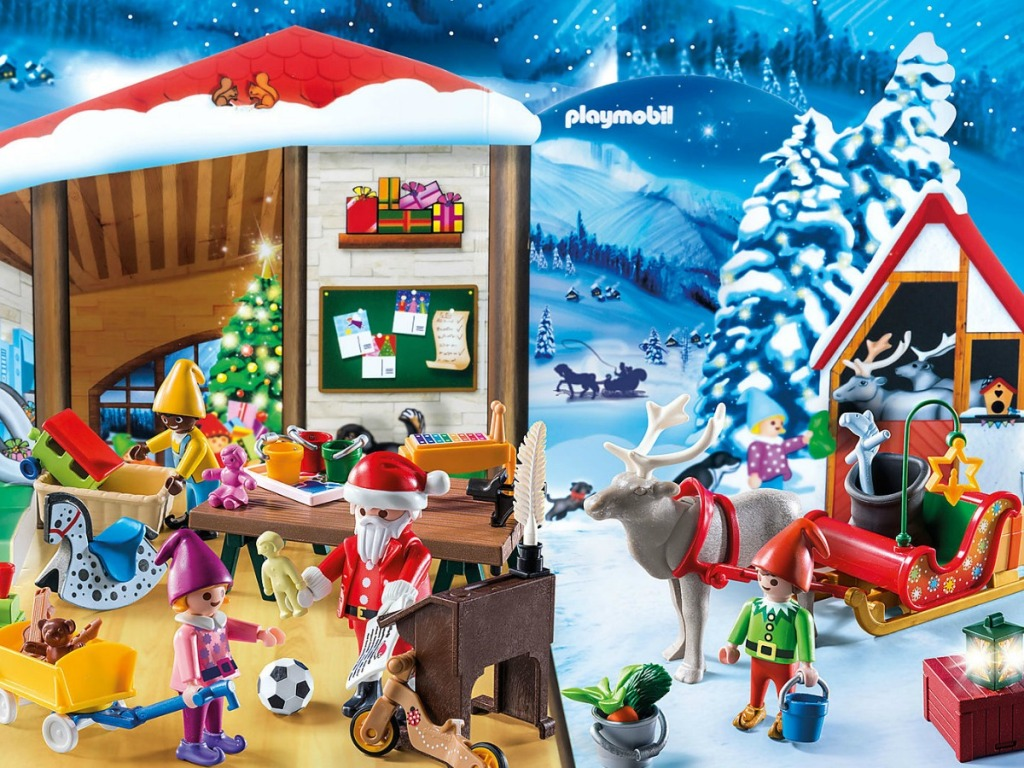 playset with little santa and his workshop