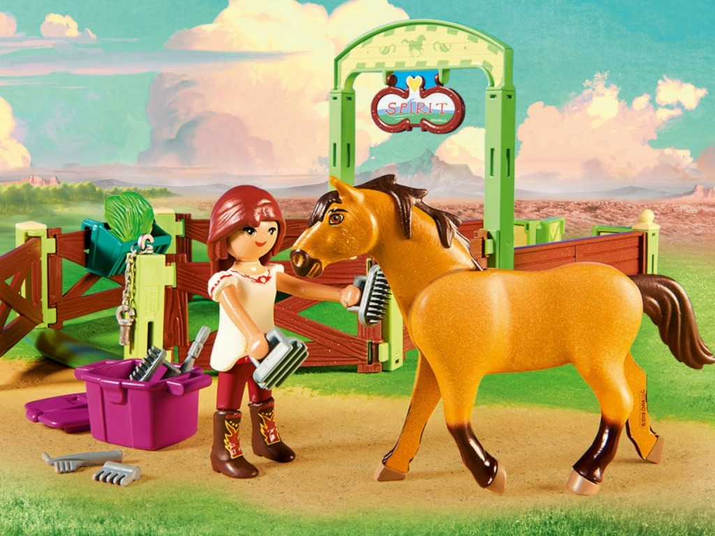 playset with girl and her brown horse